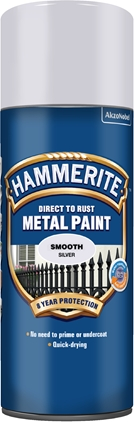 Hammerite Glatt Finish Sølv spray